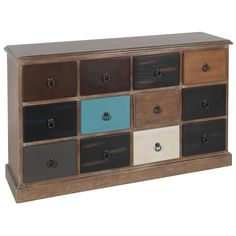 This natural driftwood 12 drawer unit would sort out your storage problems immediately. The multicoloured drawers add a real personal touch to this unit which would find a place in many rooms of your home. Please look out for the matching 'natural driftwo Large Storage Units, Drawer Storage Unit, Storage Spaces, Storage Chest, Storage Ideas, Hallway Cabinet, Driftwood Furniture, Room Store, Furniture