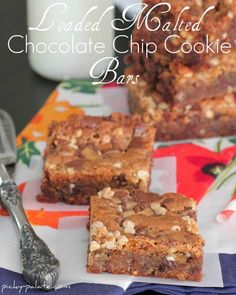 Malted chocolate chip cookie bars