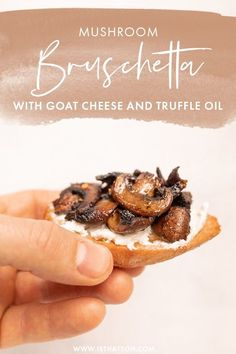 If you love truffle anything as much as I do, you are going to love this bruschetta! This delicious and vegetarian bruschetta recipe is made with mushroom, goat cheese and truffle oil!