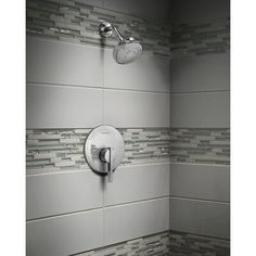 Shower Accent Tile, Gray Shower Tile, Master Bathroom Shower, Tub And Shower Faucets, Small Bathroom, Bathroom Vanities, Bathroom Shower Remodel, Bathroom Tile Showers, Bathroom Ideas
