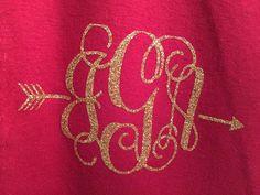 arrow monogram shirt gold glitter monogram by SweetTeeShirts