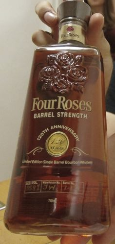 Four Roses Single Barrel 120th Anniversary Edition. An incredibly limited bottling (less than 3,000) from 2008. It has the rare distinction of being an overproof bourbon with floral/fruit notes. This particular bottle proved enjoyable to both young and old.