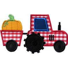 Tractor Pumpkin Applique by HappyApplique.com