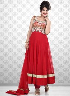 Exciting Red Net Ankle Length #Anarkali Suit