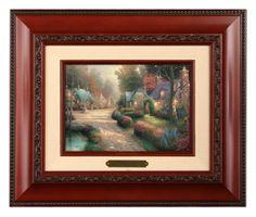 Cobblestone Lane - Brushwork (Brandy Frame) by Thomas Kinkade