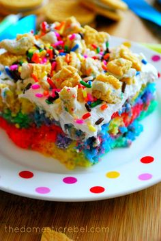 Better Than Presents… Rainbow Birthday Poke Cake | The Domestic Rebel