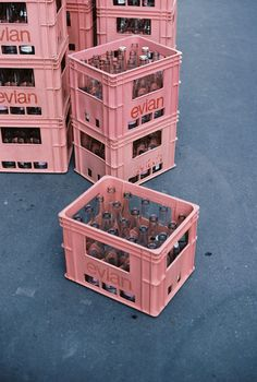 There has to be a reason Evian tastes better than regular water. Perhaps its the pink crates.