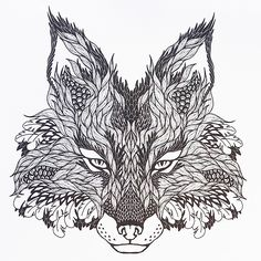 An awesome-looking fox design from Tattoo Designs, a creative colouring book for adults.