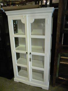 """White Curio Cabinet  WC1017 - $613  39.5""""W x 17.75""""D x 71""""H  #NadeauNashville"""