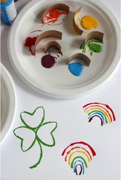 Rainbow stamping and shamrock stamping- a fun project for the kids, and all you need is a TP roll and paint