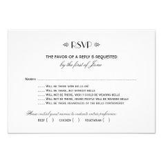 Wedding RSVP Card, love the humour!