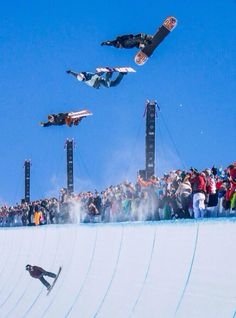 Gorgeous shot of triple methods thrown by snowboarders Danny Davis, Terje Haakonsen, and Scotty Lago poaching the halfpipe at the Burton US Open
