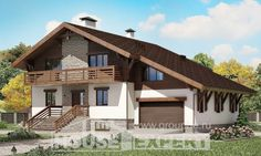 420-001-П Проект трехэтажного дома с мансардой и гаражом, современный домик из кирпича