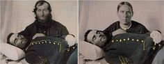 A mother and father pose with their dead son, a Civil War Union Soldier
