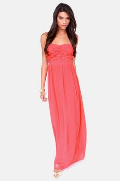 LULUS Exclusive Slow Dance Strapless Coral Maxi Dress