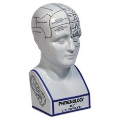 An eye-catching addition to your office or study, this porcelain phrenology head decor showcases a typographic motif.   Product: