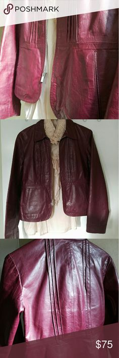 🌼 Banana Republic 🌼 Banana Republic Leather Jacket - Blazer // Wine // Medium // Runs a bit wide in shoulders and through the arms. Blouse pictured not included. No PayPal, please. Feel free to make an offer!  BUNDLE AND SAVE! ?? Banana Republic Jackets & Coats Blazers
