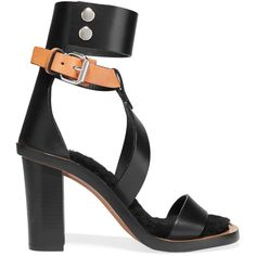 Isabel Marant Jenyd shearling-lined leather sandals ($805) ❤ liked on Polyvore featuring shoes, sandals, black, heels, heeled sandals, black leather shoes, ankle strap heel sandals, buckle sandals and black buckle sandals