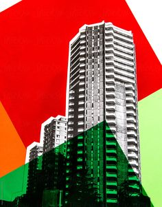 Architecture collage with colour blocked details by kkgas - Stocksy United Colour Architecture, Architecture Collage, Visual Communication Design, Building Images, Built Environment, Color Photography, Color Blocking, Skyscraper, 1960s