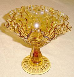 Vintage FENTON AMBER GLASS Compote / Candy Dish