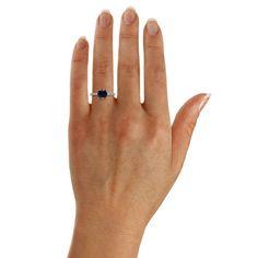 CARAT Brilliant Cut Sapphire Blue Coloured Solitaire Ring in 9 Carat White Gold - 13030