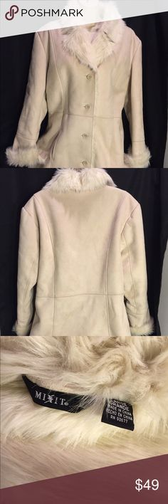 """Mix It Winter coat-cream- BEAUTIFUL-Large ✔️ Beautiful Cream COAT -Lined Woman's """"Mix It""""Large EXCELLENT SHAPE- Faux Fur-Pitt to pit is 19 inches. The coat is 32 inches long. Sleeves are 21 inches long. Two front pockets fur like cuffs for like collar. polyester and acrylic material. Beautiful beautiful beautiful coat you will get many compliments wearing this jacket this fall. Plus no one needs to know it was used excellent shape. Mix It Jackets & Coats"""
