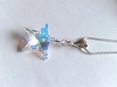 Swarovski Crystal Clear Star on 18 Silver Snake Chain by TwinklePlanet www.etsy.com/shop/TwinklePlanet