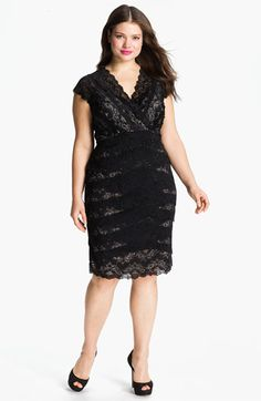 New Years dress?? JS Collections Layered Lace Sheath Dress (Plus) available at #Nordstrom