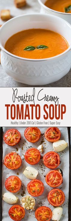 This easy roasted tomato soup involves very less preparation time. Doesn\'t require additional skills to make this delicious & healthy tomato soup & no need to babysit this one when making. #healthyrecipe #tomatosoup