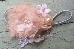 Blush & White Fabric Flower Headband, Blush Lace Flower, Blush Satin Rosette, Bridal, Flower Girl, Baby Girls, Hair Accessory, Women's  on Etsy, $24.00