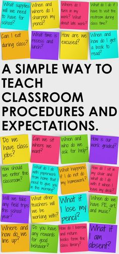 Simple Way to Teach Classroom Procedures and Expectations A better way to teach classroom procedures and expectations on the first day of school.A better way to teach classroom procedures and expectations on the first day of school. Teaching Procedures, Classroom Procedures, Teaching Tips, Classroom Organization, Middle School Procedures, First Day Procedures, Classroom Decor, Rules And Procedures, 4th Grade Procedures