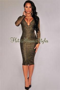 Black Gold Shimmer Padded Knee-Length Dress af30d6fe1