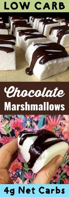 These low carb Chocolate Marshmallows are so tasty!  They are light fluffy marshmallows drizzled with sugar free dark chocolate.  Each marshmallow has only 1g net carbs and is Keto, Atkins, Banting, THM-S, LCHF, Gluten Free, Grain Free and Sugar Free compliant.  #resolutioneats #lowcarb #keto #dessert #marshmallow