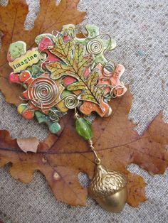 Fall Oak leaf shrink art puzzle piece brooch by CAndrewsstudio