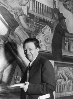 Diego Rivera and Frida Kahlo in Detroit Exhibition | Diego Rivera painting Detroit Industry murals | Detroit Institute of Arts