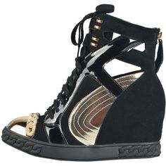 Posh Girl Black & Gold Leather wedge Sneakers ($228) ❤ liked on Polyvore