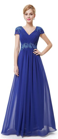 Ever Pretty Cap Sleeve V Neck Embroidered Evening Gown