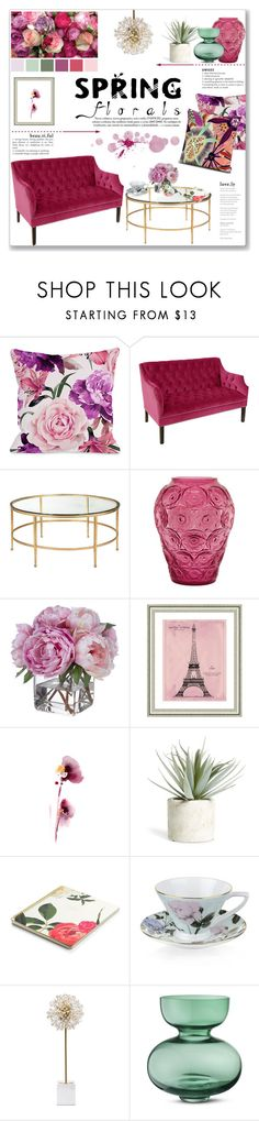 Spring Florals: Living Room by lauren-a-j-reid on Polyvore featuring interior, interiors, interior design, home, home decor, interior decorating, Kate Spade, One Bella Casa, Portmeirion and Lalique
