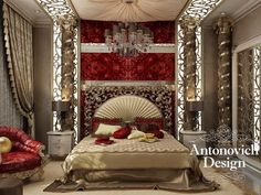 Royal Luxury from Antonovich Design. The richness of decoration, ornate decor of elements create an atmosphere of richness, aristocracy. Pay attention to the ceiling and how harmoniously it emphasizes the conceptual idea of the interior.