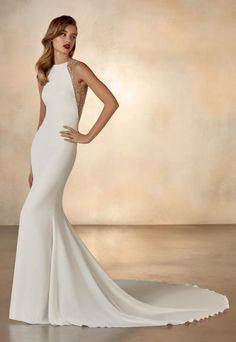 Minimalist mermaid wedding dress in soft crepe with halter neckline and extraordinary meteor beading on golden illusion back. Bridal gown with train by Atelier Pronovias Soft Wedding Dresses, Wedding Dress Crafts, Crepe Wedding Dress, Wedding Dress Sizes, Bridal Dresses, Bateau Wedding Dress, Halter Neck Wedding Dresses, Kleinfeld Wedding Dresses, Unique Wedding Gowns