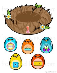 Bird Nest Number Match - Frogs and Fairies Number Games Preschool, Learning Numbers, Preschool Worksheets, Math Games, Pre K Activities, Craft Activities For Kids, Teaching Shapes, Number Matching, Early Math