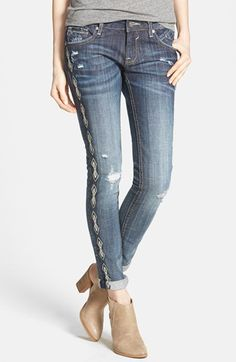 Vigoss Embroidered Trim Destroyed Skinny Jeans (Medium) (Juniors) available at #Nordstrom