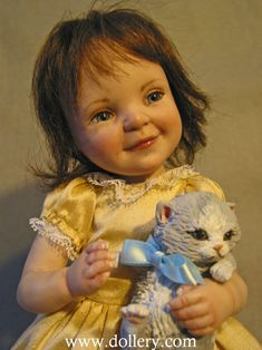 Jane Bradbury's one of a kind work, Little Kitten doll for 31st Dollery Doll Show 2013, photo copyrighted by the Dollery