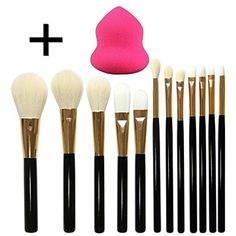 DE'LANCI 12 Pcs Premium Makeup Brushes Cosmetics Foundation Blending Wool Make Up Brush Set Face Powder Blush Cream Eyeshadow Contour Make Up Brush Tools with Pink Beauty Sponge Puff Beige Pouch Bag -- See this great product. (This is an affiliate link and I receive a commission for the sales)