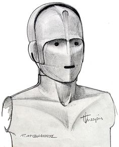 ANH: Early sketch of protocol droid C-3PO by concept artist Ralph McQuarrie.