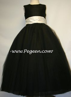 Black Flower Girl Dress have wedding party all in black with red ...