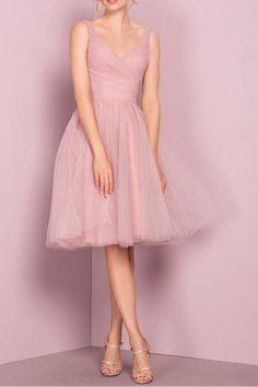 Cute V Neck Knee Length Pink Homecoming Dress Short Prom Dresses PG151
