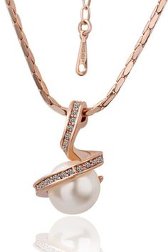 Xcrystal - 18k Gold Plated Pearl In Spiral Classic Necklace