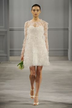 Pretty short dress.  Monique Lhuillier, Bridal Spring 2014