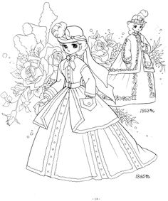 Ladies In Historical Costume 1863 1865 Princess World Shojo Coloring Page